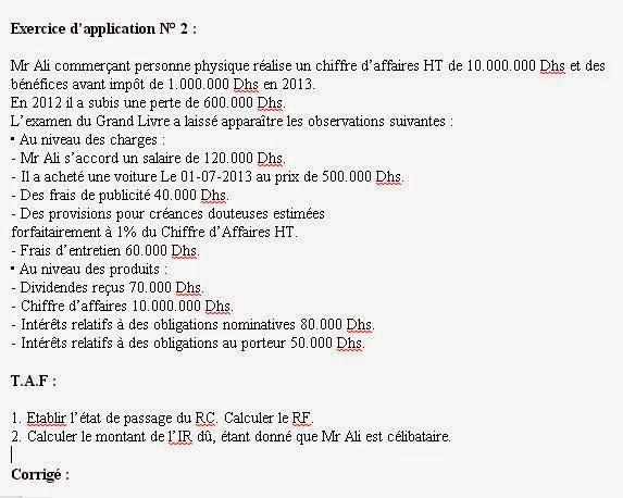 Etablir l'état de passage du RC au RF et Calcule de L'IR
