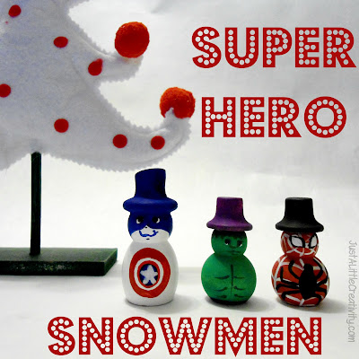 http://www.justalittlecreativity.com/2012/11/hand-painted-super-hero-snowmen.html