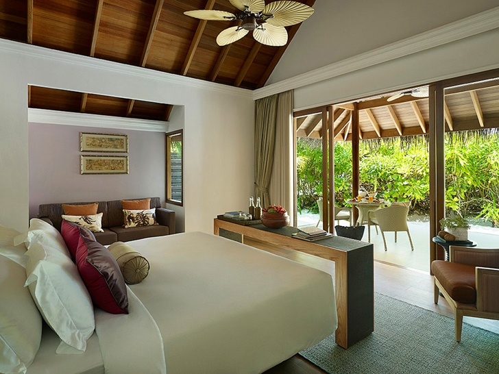 Tropical bedroom in Luxury Dusit Thani Resort in Maldives