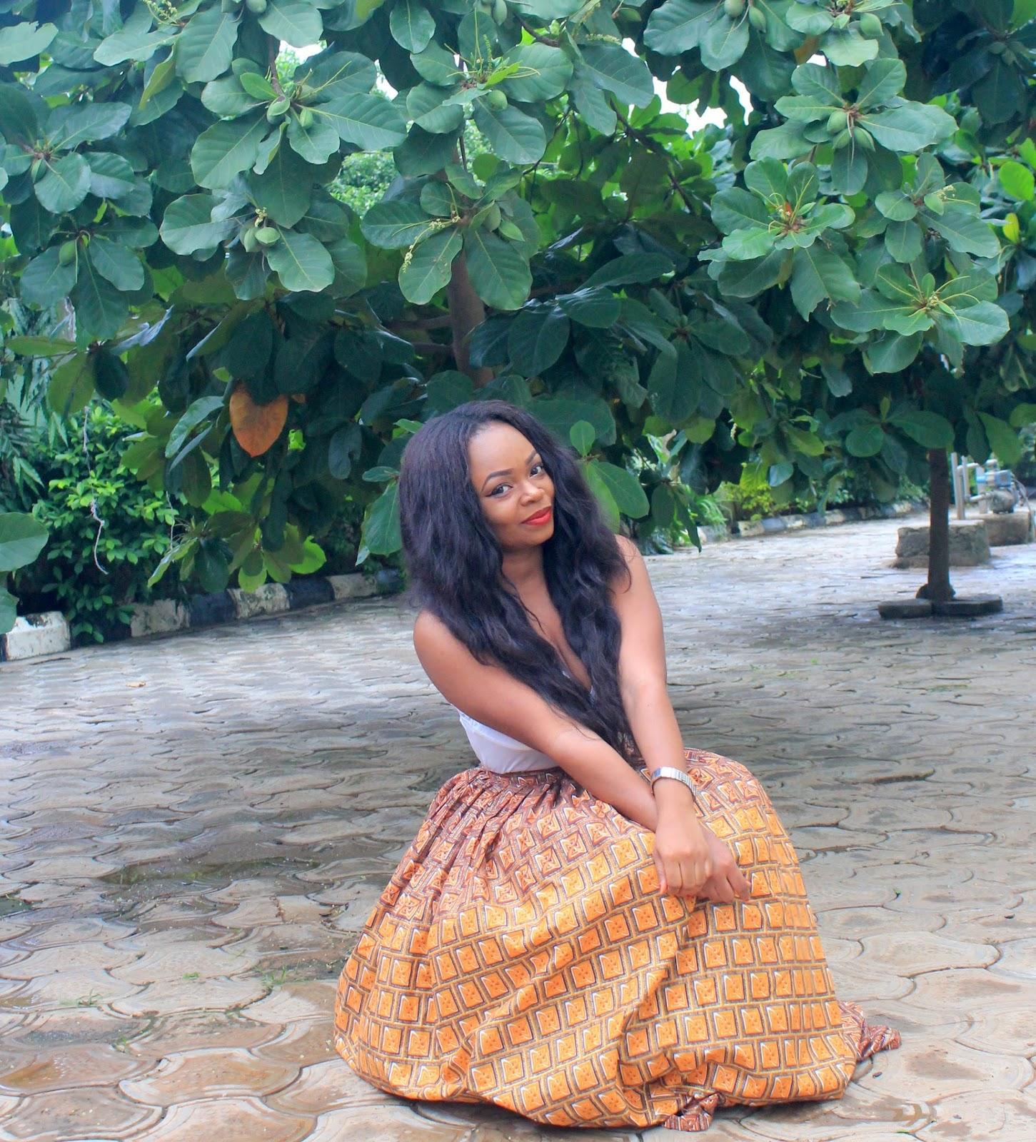 African Prints = Maxi skirt + Cami