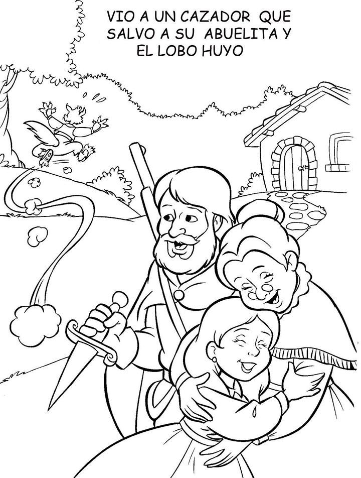 Hermosa Pequeña Abuela Caperucita Para Colorear Motivo - Dibujos ...