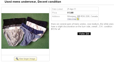 Seven pairs of used men's underwear for sale on Kijiji, skidmarks included.