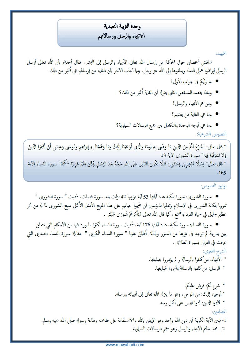 الانبياء و الرسل و رسالاتهم -1