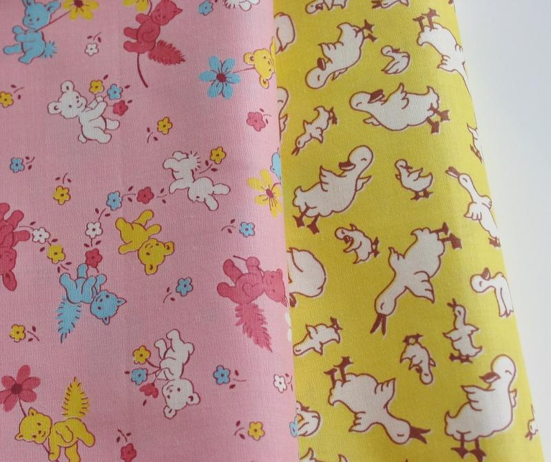 Niesz vintage home and fabric vintage 1940 39 s juvenile for Vintage childrens fabric prints