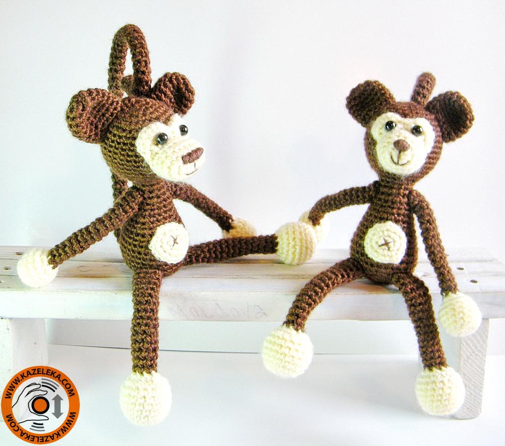 вязаные игрушки обезьянки