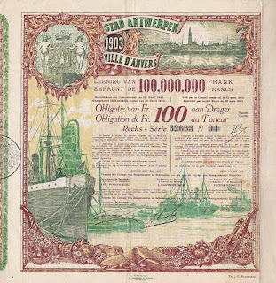 1922 replacement certificate for the 1903 bond of the city of Antwerp