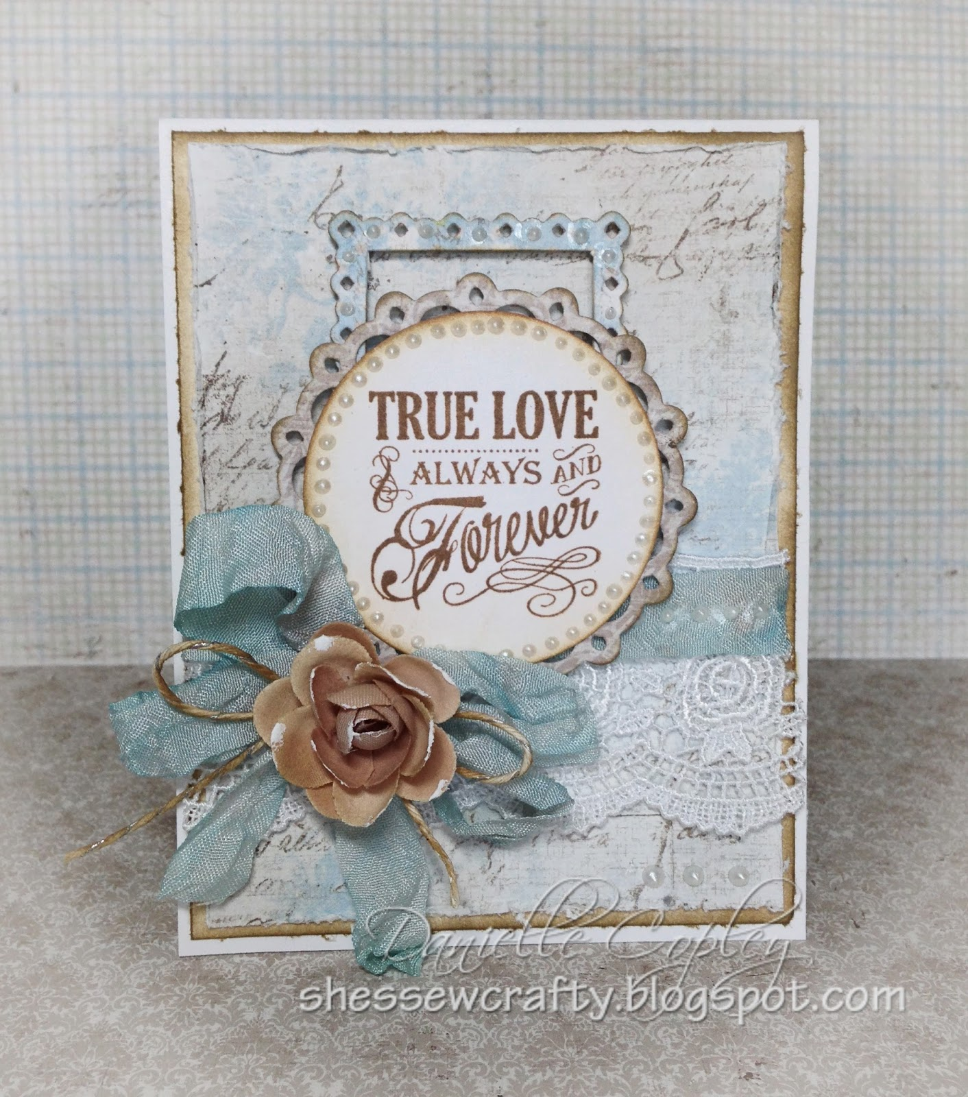 Vintage Sentiment card using Maja papers for Scrapbook Maven