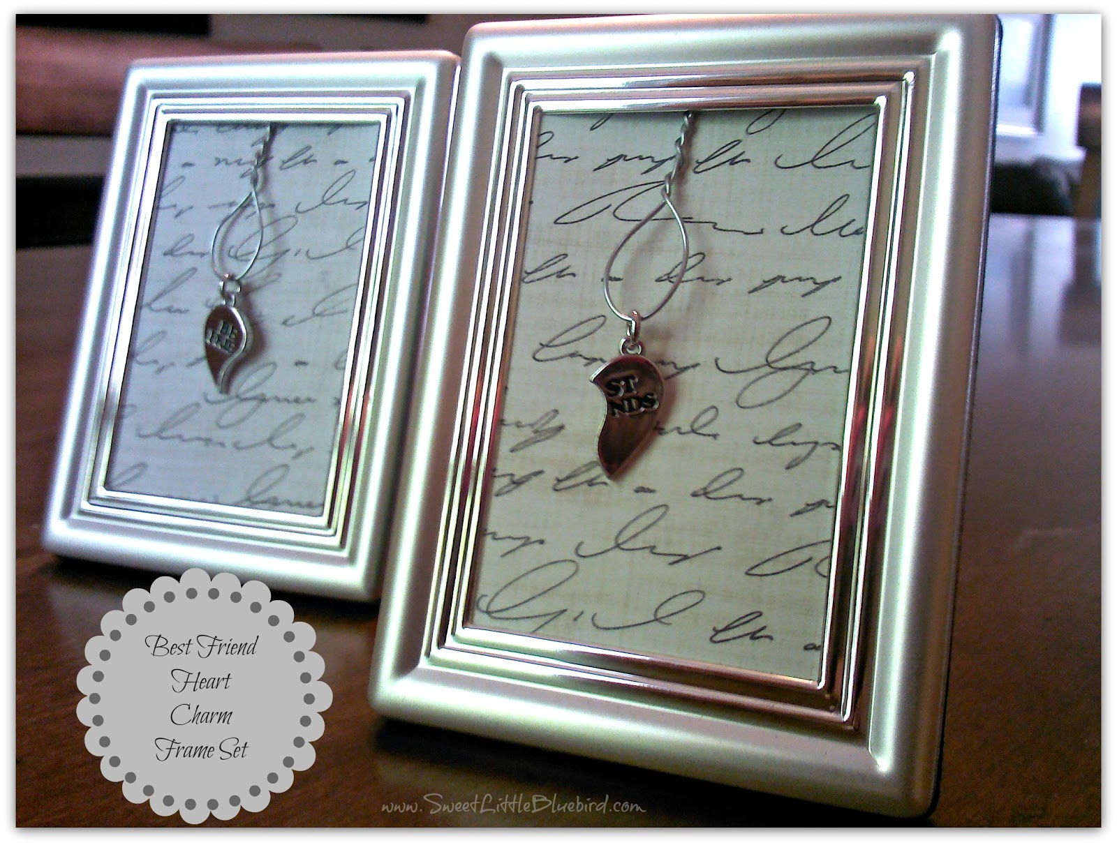 diy best friend heart charm frame set