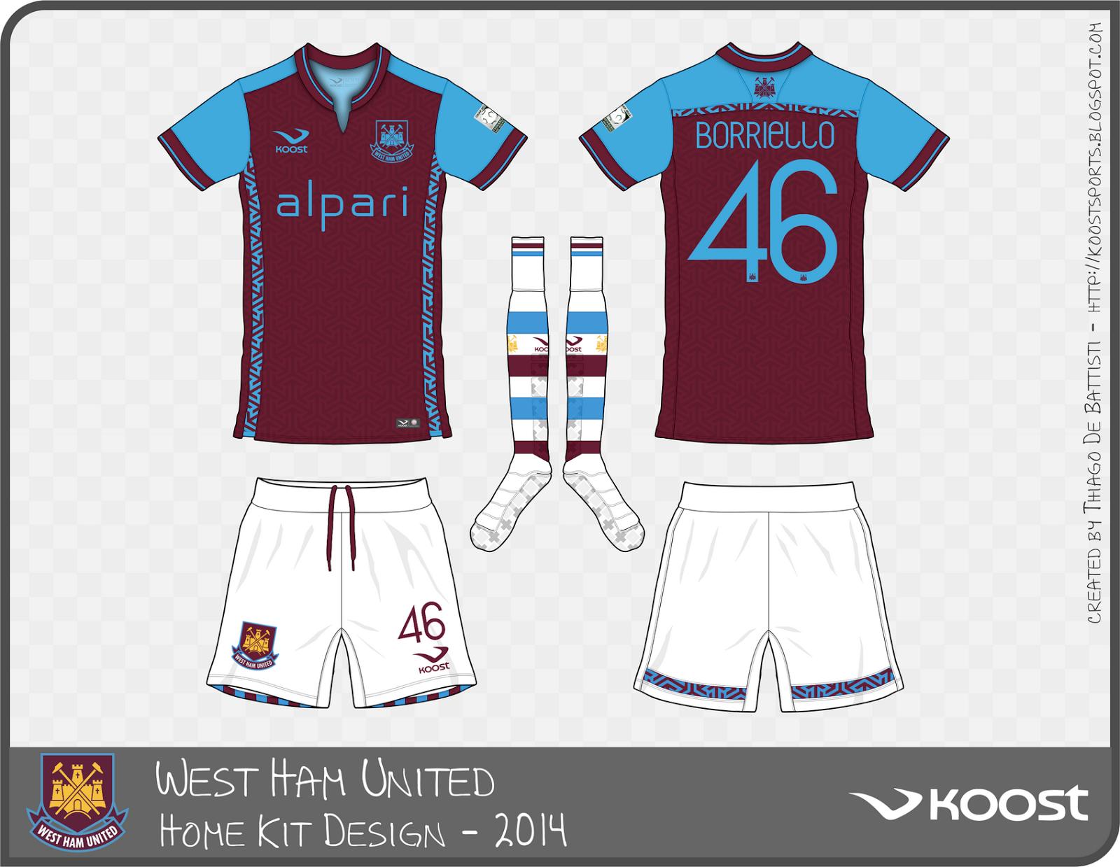 Koost sports west ham united for Kit west homes