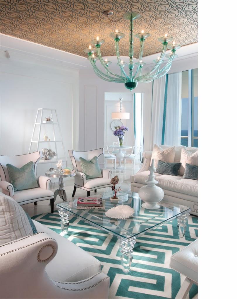 Sala De Estar Azul Turquesa ~   Decorações para Sala de Estar inspiradas no Azul Turquesa