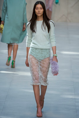Burberry Spring 2014 Mint Lace Skirt