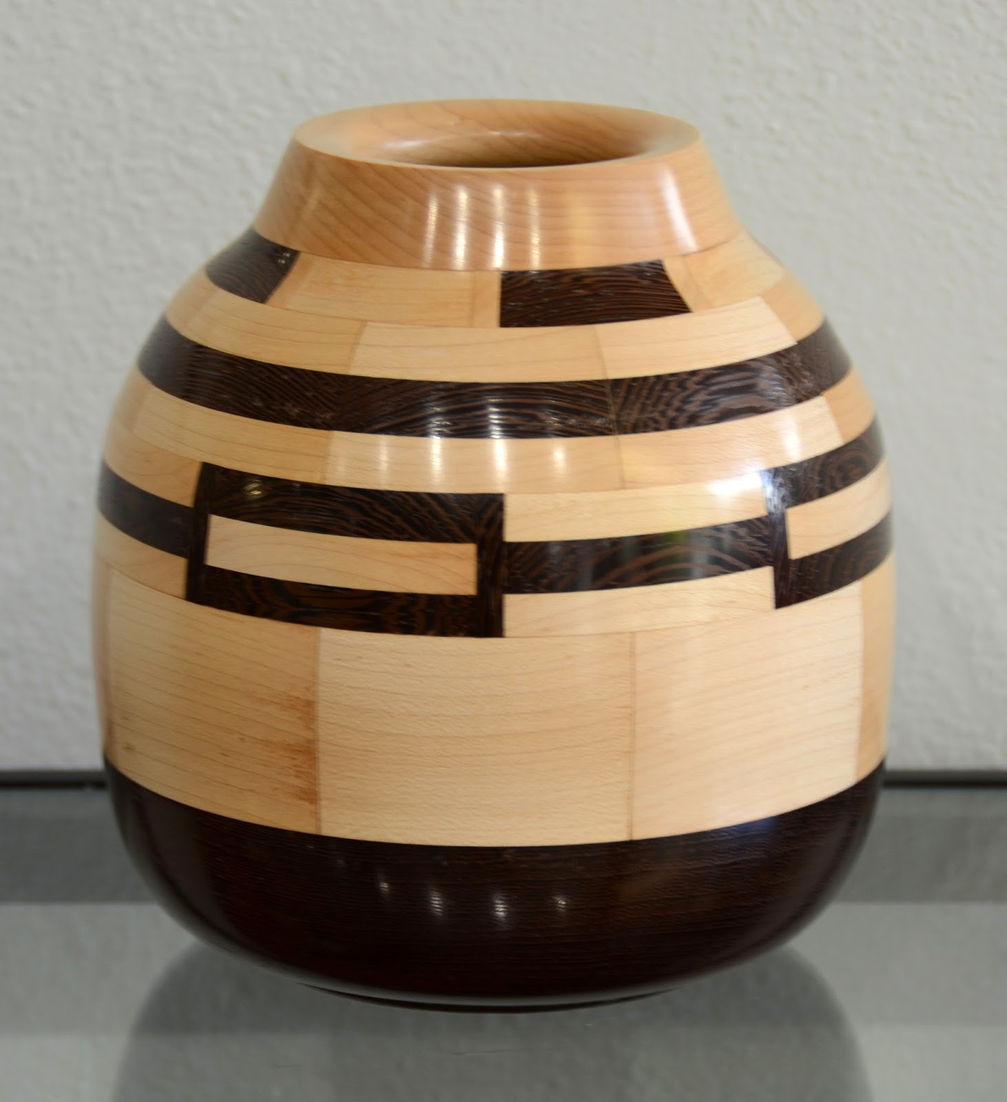hand-carved wooden vase