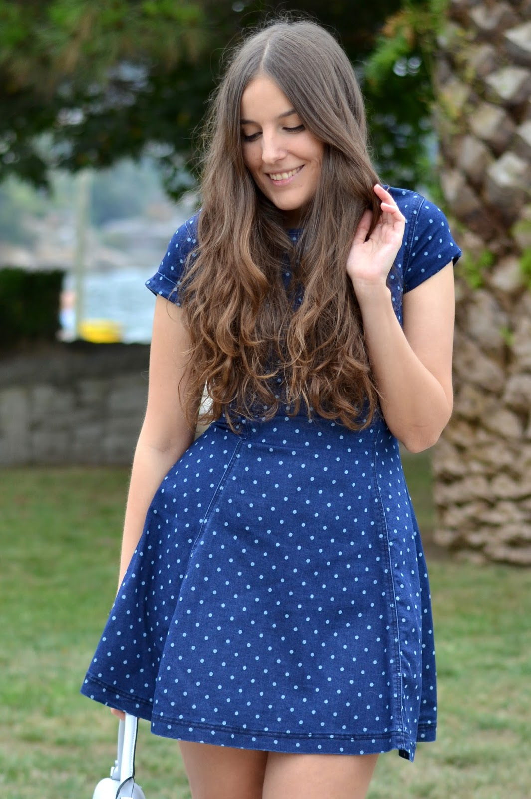 polka dots denim dress chicfy