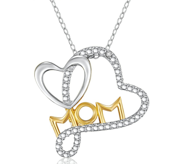 "14K GOLD PLATED DIAMOND ACCENT ""MOM"" HEART PENDANT"