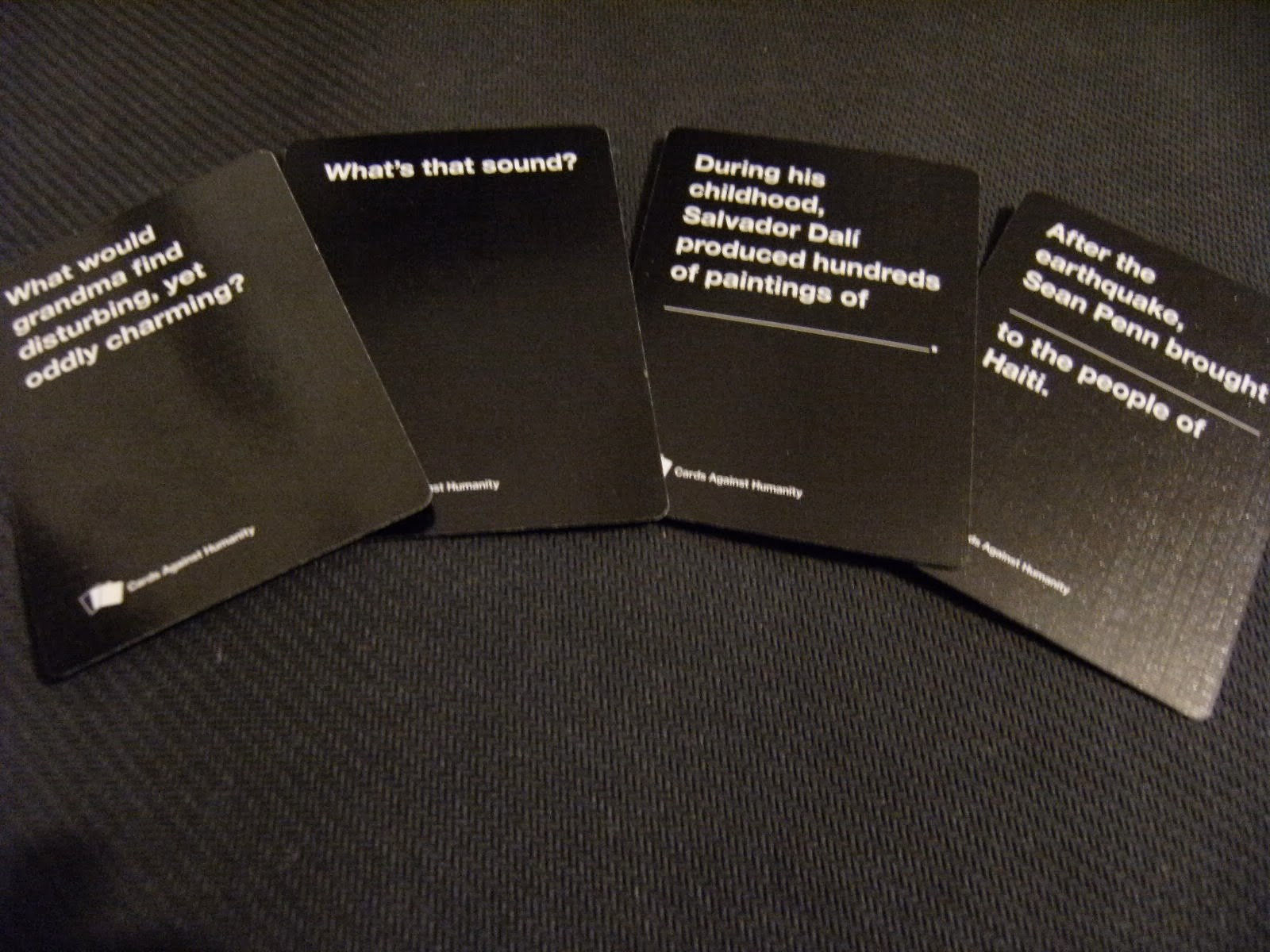 Image of: Combinations The Card Tsar Takes The Top Card Off The Black Deck And Reads It Out To The Rest Of The Group All Of These Cards Take The Form Of Either Question Games Tea Games Tea Cards Against Humanity Party Game For Horrible