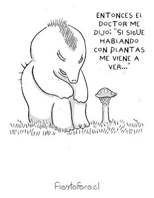 Un mono conversa con una callampa silvestre y le dice: «El doctor me dijo que si seguía hablando con plantas lo fuera a ver.»