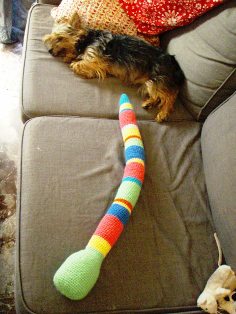 crochet baby snake toy funny stripes