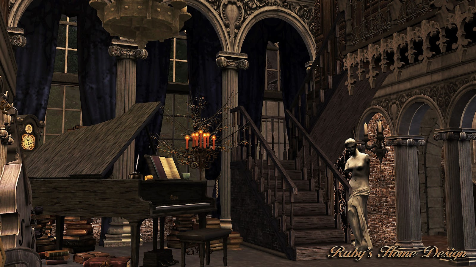 Portfolio page pheasant House livdin Room buffet in addition Sims3 Gothic Mansion in addition Canvas Paintings likewise Pallet Wall Decor 2 together with Caramel Flan Individual Servings 2343004. on house room painting