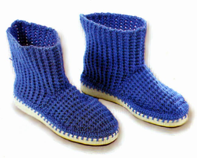 tejidos artesanales en crochet: bota tejida en crochet con suela ...