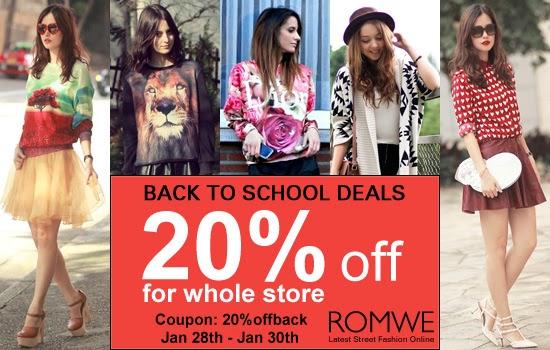 Promoção volta às aulas Romwe