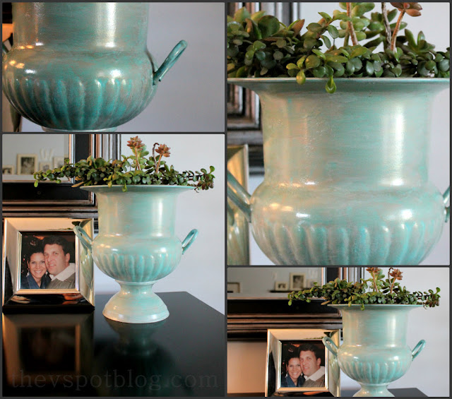 succulents, planter, faux finish, copper patina, copper, blue, green, urn