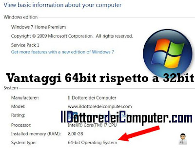 vantaggi 64bit rispetto 32bit