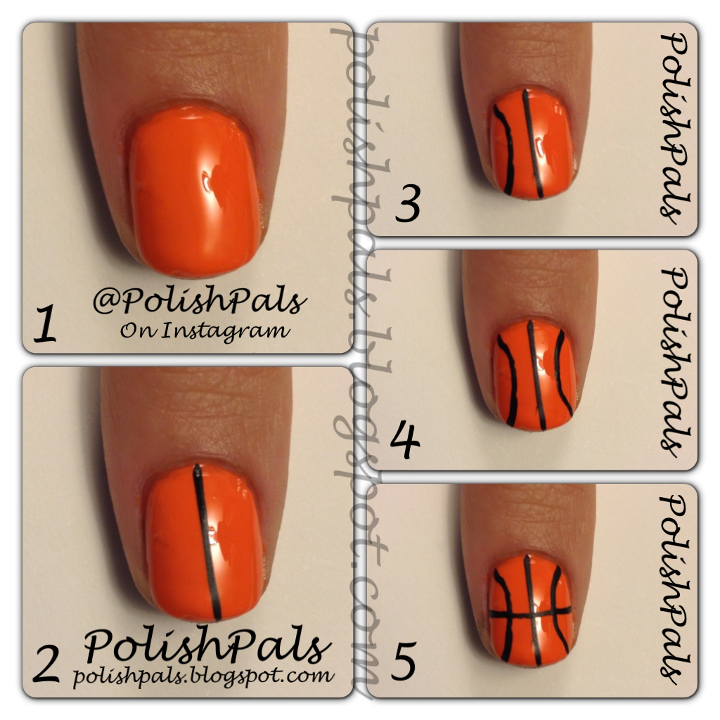 Basketball Nails - Polish Pals: Basketball Nails Tutorial