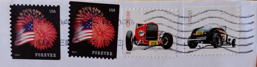 affrancatura USA black e red deuce coupe flag and fireworks