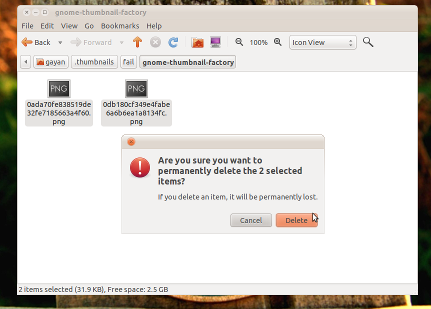 How to Remove Nautilus Thumbnail Cache Folder in GNU/Linux (Gnome)?