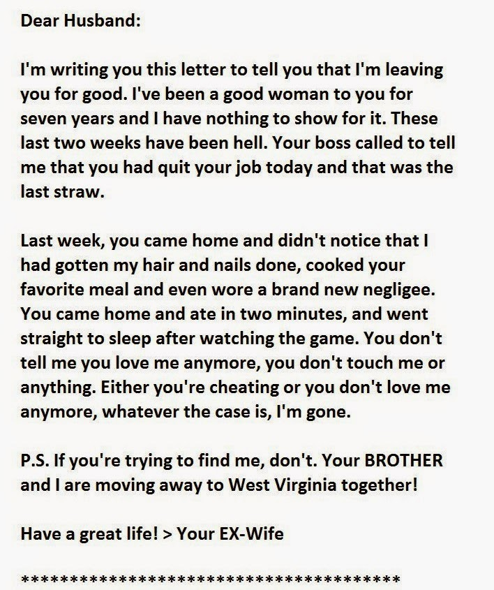 The Best Divorce Letter Ever Opps ... Wait Until You Read The ...
