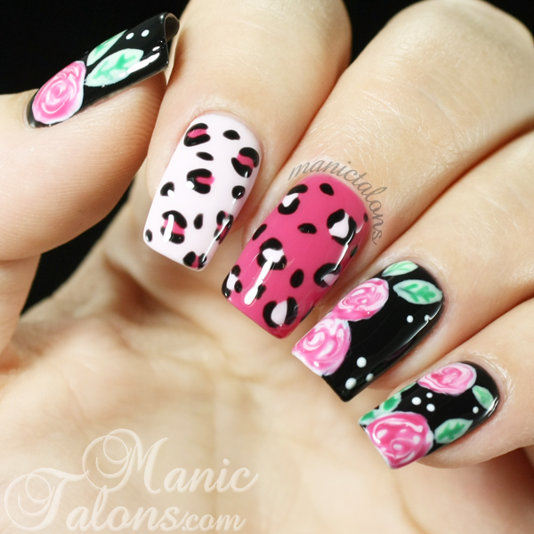 Leopard and Roses Manicure