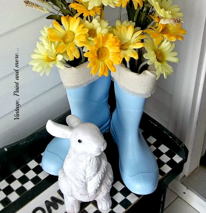 Spring Entryway - painted boots and faux flowers
