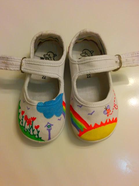 Zapatillas lona pintadas a mano Arco Iris y Flores