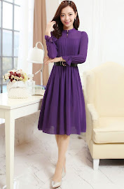 New 2015 Spring Summer Long Sleeve High Neck Chiffon Dress