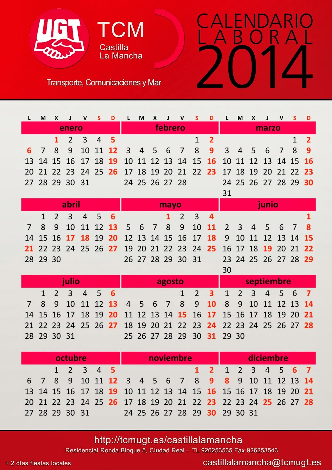 CALENDARIO LABORAL 2014 CLM