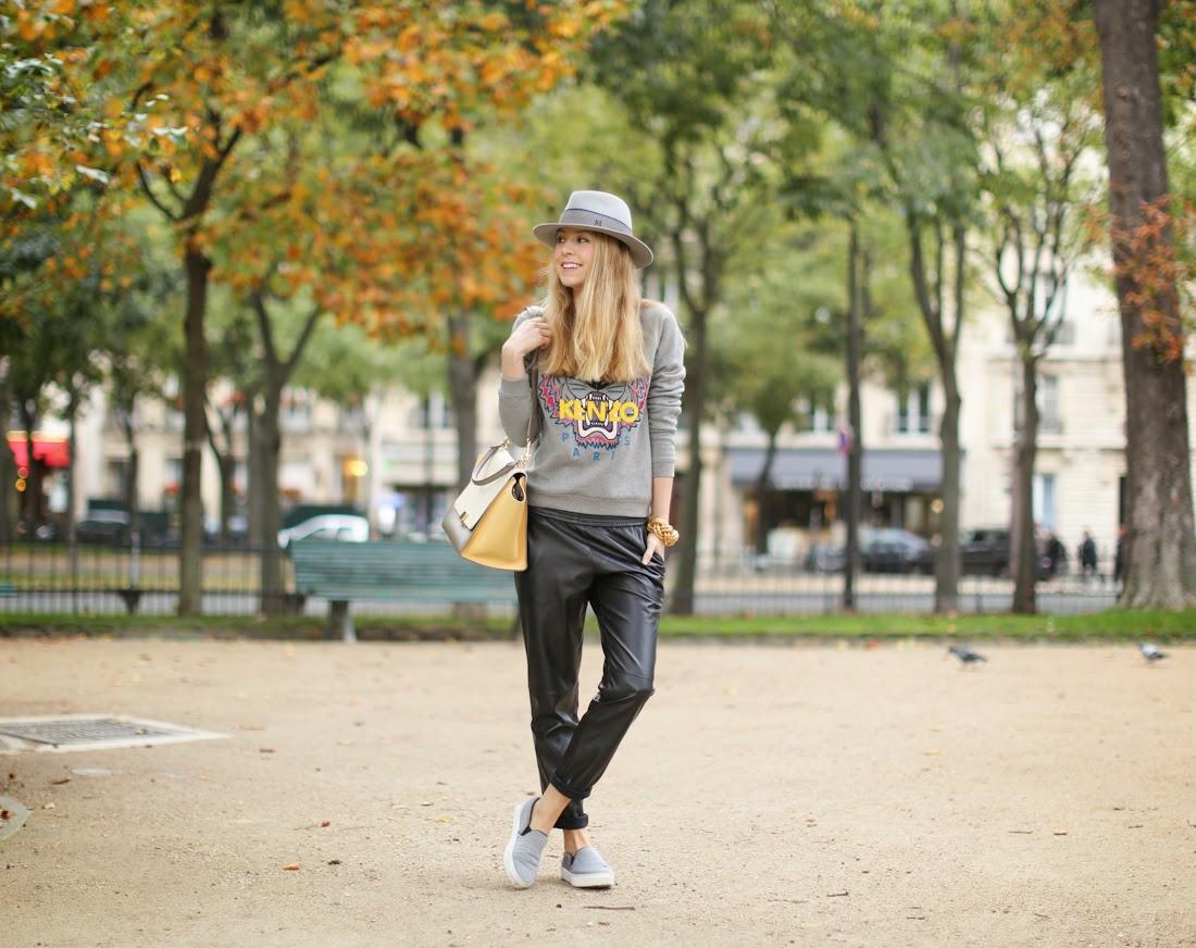 kenzo, slouchy leather pants, céline slipons, céline Trapèze, maison michel, lara bohinc, streetstyle, outfit