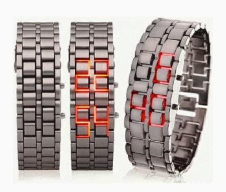 Jam Tangan Iron Samurai Metal Hitam/Silver LED Merah