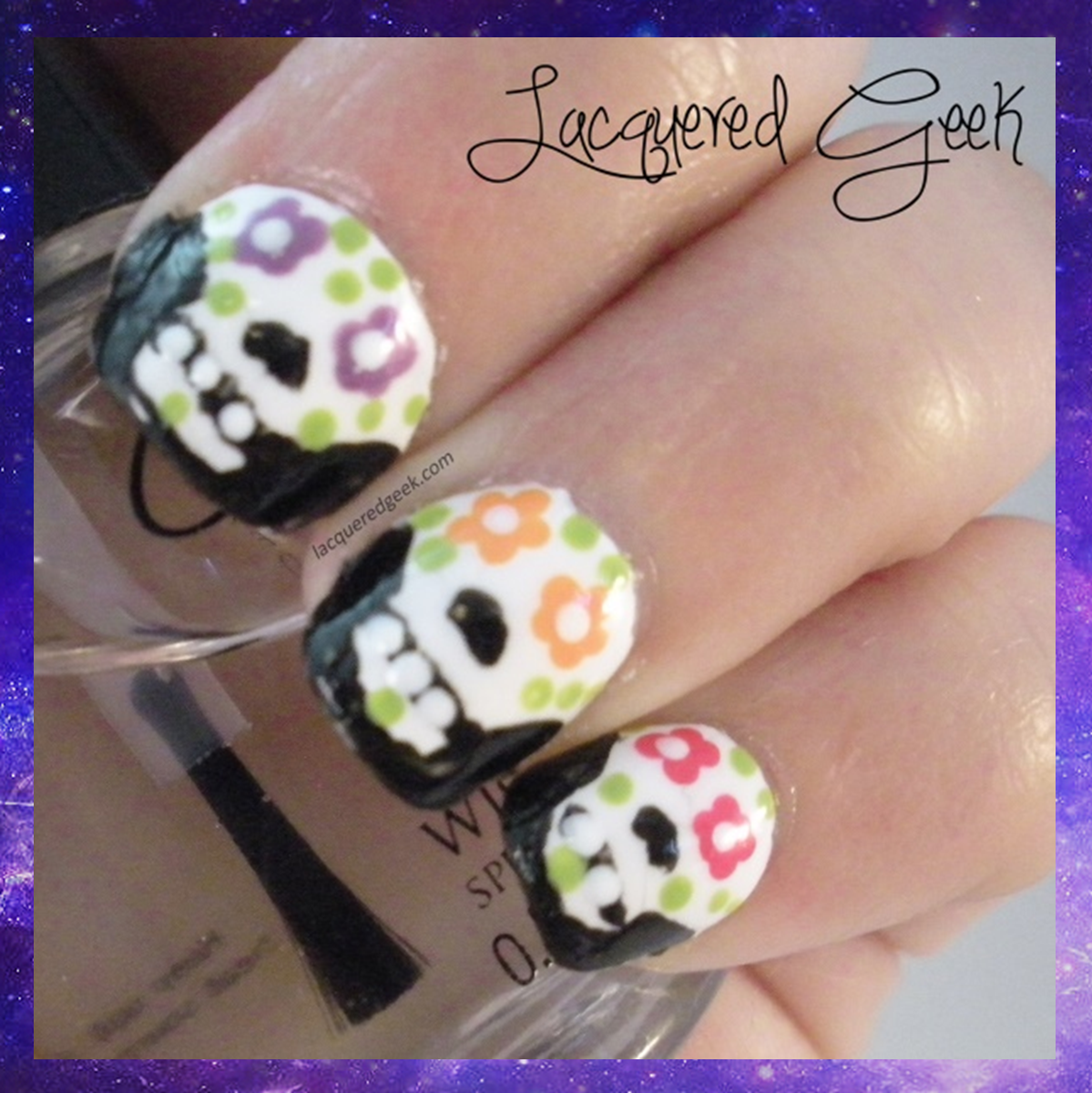 sugar skulls halloween nail art