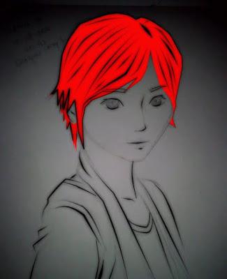 Gambar - Setelah rambut diwarnai dengan warna merah