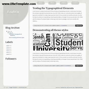 Lighty blogger template. minimalist design template