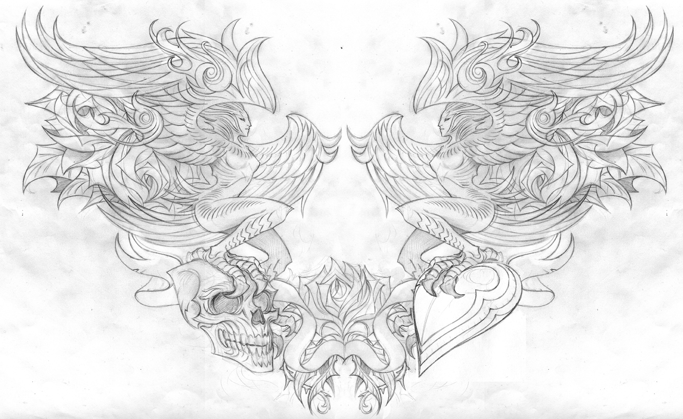 inner forearm tattoos chest sketches