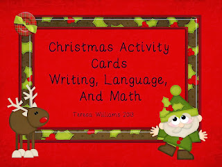 http://www.teacherspayteachers.com/Product/Christmas-Activity-Cards-Writing-Language-and-Math-755322