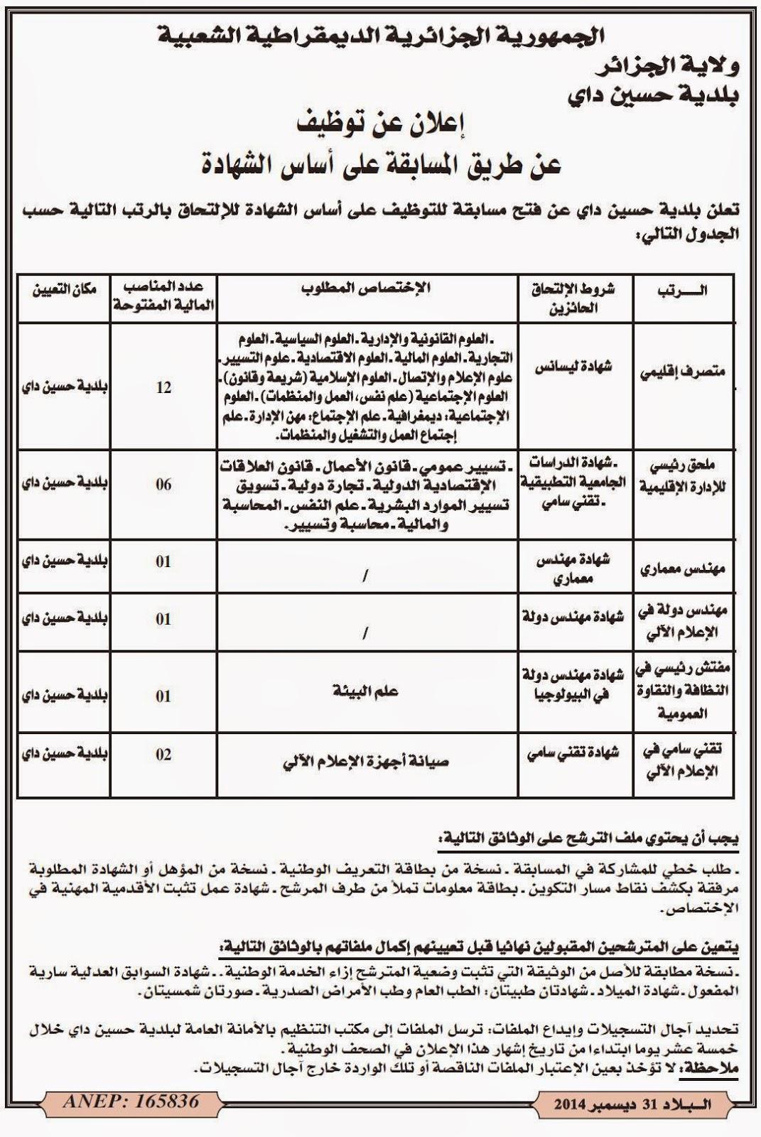 مسابقات توظيف في بلدية حسين داي بولاية الجزائر العاصمة جانفي 2015