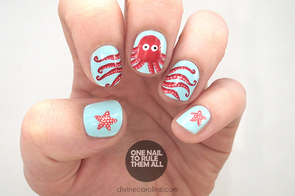 Octopus Summer Nail Art