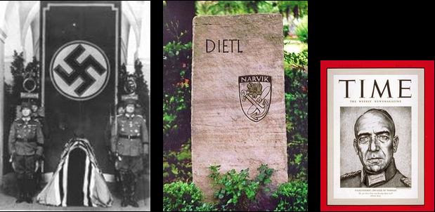 """Eduard Wohlrath Christian Dietl (* 21. Juli 1890 in Aibling; † 23. Juni 1944 nahe Waldbach, Steiermark) war ein deutscher Offizier, zuletzt Generaloberst im Zweiten Weltkrieg sowie Kommandeur von Gebirgsjägertruppen an verschiedenen Kriegsschauplätzen.  Inhaltsverzeichnis      1 Leben         1.1 Bayerische Armee         1.2 Weimarer Republik             1.2.1 Frühe Mitgliedschaft in der NSDAP             1.2.2 Geplante Teilnahme am Hitler-Ludendorff-Putsch         1.3 Zeit des Nationalsozialismus             1.3.1 Vorkriegszeit             1.3.2 Zweiter Weltkrieg                 1.3.2.1 Stilisierung zum Kriegshelden                 1.3.2.2 Beförderung zum Generaloberst                 1.3.2.3 Tod     2 Hitlers Nachruf auf Dietl     3 Gesinnung     4 Kriegsverbrechen     5 Dietl als Namenspatron     6 Auszeichnungen         6.1 Deutsche Auszeichnungen vor 1933         6.2 Deutsche Auszeichnungen im Dritten Reich         6.3 Ausländische Auszeichnungen     7 Literatur     8 Weblinks     9 Einzelnachweise  Leben Bayerische Armee  Eduard Dietl war der Sohn des Finanzrates Eduard Dietl und dessen Frau Lina, geborene Holzhausen. Das Abitur legte er am Rosenheimer Gymnasium ab. Er trat am 1. Oktober 1909 als Fahnenjunker in das 5. Infanterie-Regiment """"Großherzog Ernst Ludwig von Hessen"""" der Bayerischen Armee in Bamberg ein. Für seinen Eintritt als Offizieranwärter[1] benötigte er zwei Anläufe; von einem anderen Regiment wurde seine erste Bewerbung abgelehnt.  Er besuchte die Kriegsschule München und wurde am 26. Oktober 1911 zum Leutnant ernannt. Der Erste Weltkrieg begann für Dietl 1914 als Zugführer einer MG-Kompanie an der Westfront. Dietl wurde dreimal verwundet und wurde nach der Schlacht an der Somme mit dem Eisernen Kreuz I. Klasse ausgezeichnet. Bis zum Ende des Krieges wurde er zum Hauptmann befördert und stieg, nach mehreren Adjutantenstellungen,[1] zum Kompanieführer auf. Weimarer Republik  1919 trat er als Kompanieführer in das Freikorps des Franz von Epp ein,"""