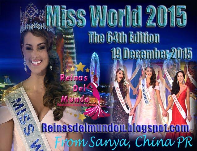 Miss World 2015, 19 de Diciembre desde Sanya, China