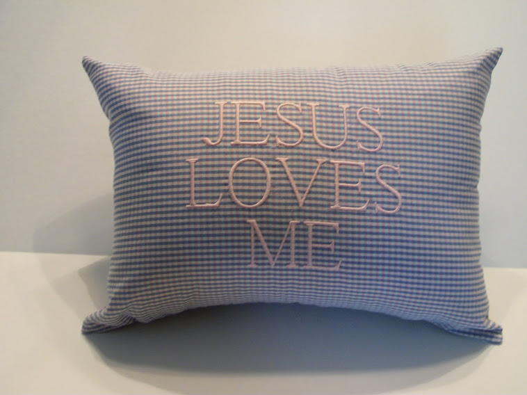 JESUS LOVES ME - pink/blue check