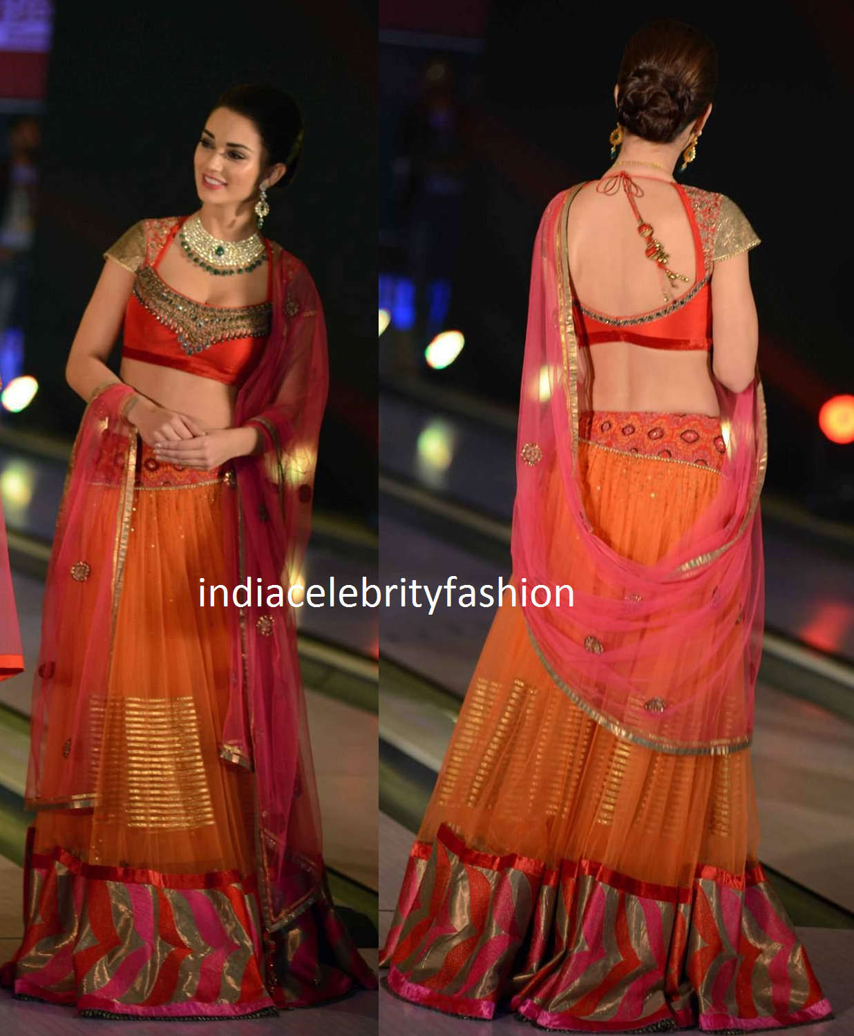 Amy Jackson in Bridal Lehenga at SIB Fashion show