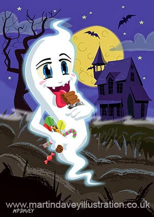 Manga Sweet Ghost at Halloween vector illustration