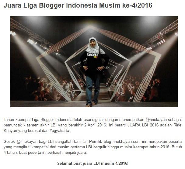 Juara LBI 2016